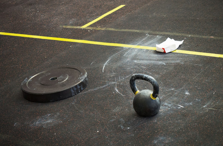 The equipment of the sports hall. Natural photo shoot in the gym. Place after a hard workout. Banco de Imagens - 115273504