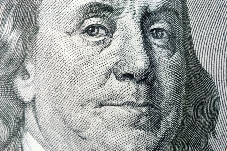 det: Benjamin Franklin From Dollar Bill, One Hundred Dollars, Colse-Up