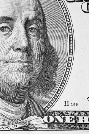 benjamin franklin: Benjamin Franklin From Dollar Bill, One Hundred Dollars, Colse-Up