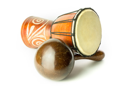 shekere: Djembe and Shekere, African Musical instruments Stock Photo