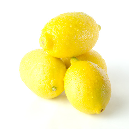 soppy: Lemon with water drops, white  Stock Photo