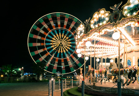 lights at the carousel, moving carousel Foto de archivo