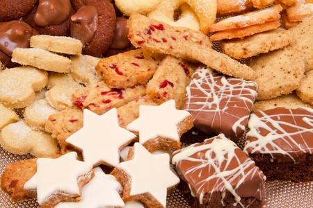 christmas cookies: Selectie van de Koekjes van Kerstmis close-up Stockfoto