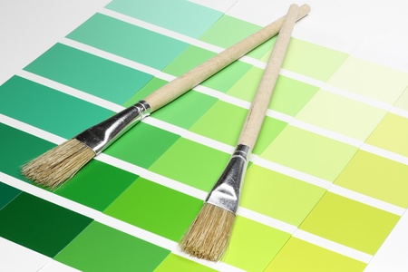 Color Sample Charts with paintbrush photo