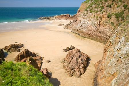 Picturesque Greve de Lecq Beach, Jersey, UK Stock Photo