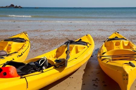 great bay: Kajaks at St. Brelades Bay, Jersey, UK