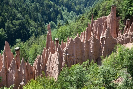 natural phenomena: Earth Pyramids of Renon, Italy, South Tyrol Stock Photo