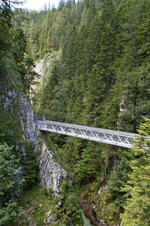 Metal bridge inside the Leutasch Gorge in the German alps, Bavaria photo