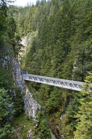 Metal bridge inside the Leutasch Gorge in the German alps, Bavaria photo