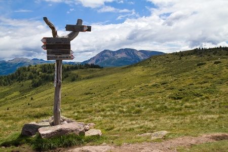 Sign post in the mountains in South Tyrol, Italy