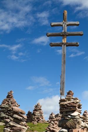 Stone men in the italian alps  photo