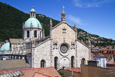 Middeleeuwse kathedraal van Como aan het Comomeer in Italië, Lombardije Stockfoto