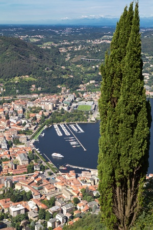 como: The small town of Como in Italy, Lombardia, from above