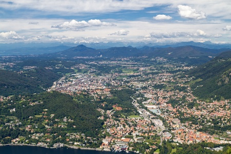 Lake Como, Italy, with view to the town Cernobbio and the swiss alps photo