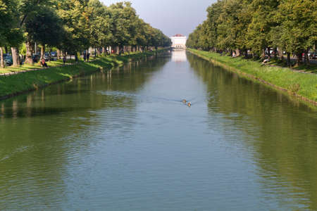 """nymphenburg palace: Canal to the """"Nymphenburg"""" palace in Munich, Germany"""
