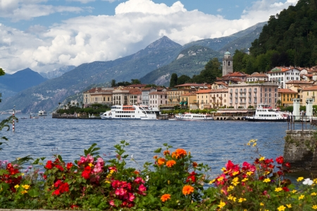 mediterranean houses: The small town of Belaggio at lake Como in Italy Stock Photo