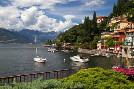 The small town of Varenna at lake Como in Italy photo