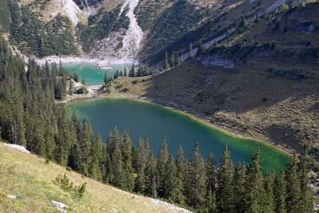 Hiking in the bavarian alps, Germany, view to the
