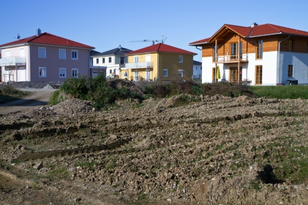 Newly built housing area in rural Bavaria, Germany