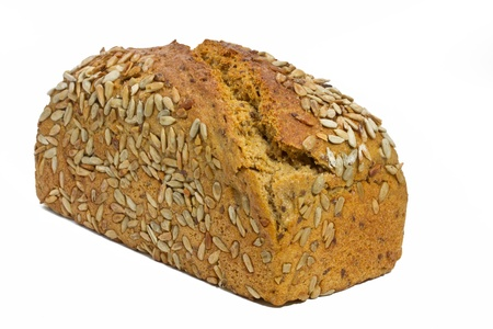 sunflowerseed: Loaf of fresh bread with sunflower seeds on white background