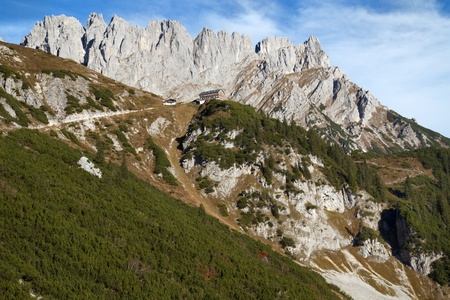 Hiking in the Austrian alps in autumn photo