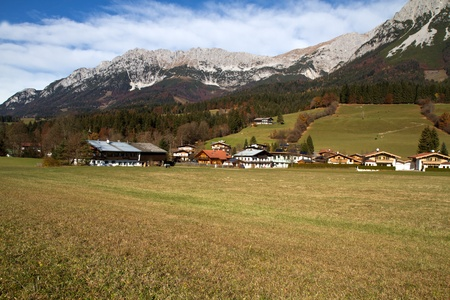 The village of Going on the foot of Zahmer Kaiser montains, Tyrol, Austria photo