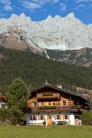 """Farmhouse at """"Zahmer Kaiser"""" mountains in Tyrol, Austria Stock Photo - 11321135"""