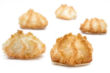 Kokosnoot makronen kerst cookies op witte