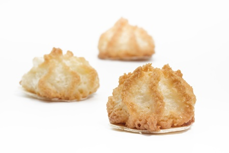 Coconut macaroons christmas cookies on white photo