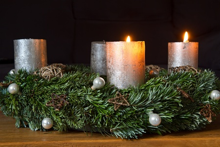 Advent wreath with two burning candles photo