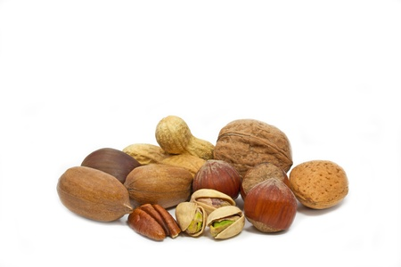 nut shell: Selection of various nuts on white background