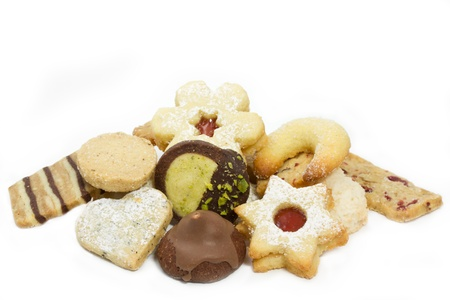 Selection of christmas cookies on white background photo