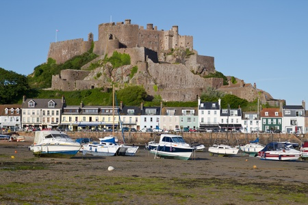 jerseys: The small town of Gorey with Mont Orgueil Castle, Jersey, UK Stock Photo