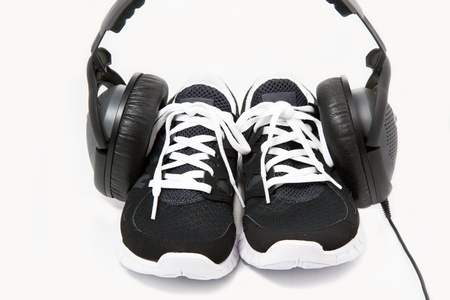 Black and white sport shoes on white background