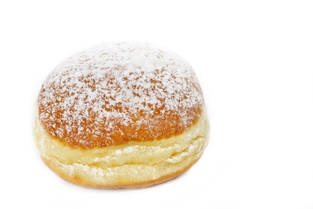 Traditional German Krapfen pastries on white background