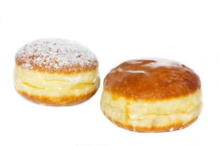 Traditional German Krapfen pastries on white background photo