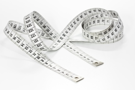 Measuring tape on white background Stock Photo