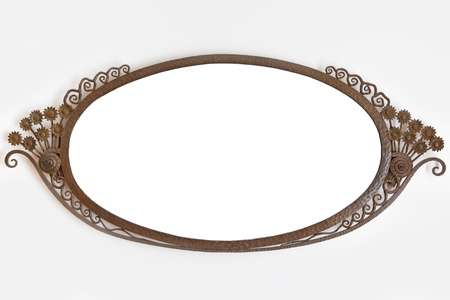 ornamented: Old ornamented metal picture frame on white