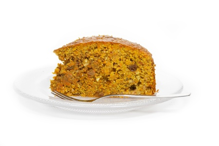 Carrot cake on a glass plate Stock Photo