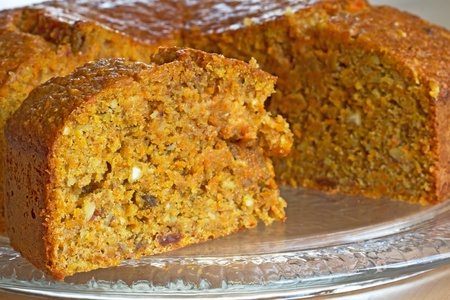 carrot cakes: Carrot cake on a glass plate Stock Photo