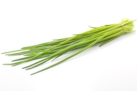 Chive on white background Stock Photo