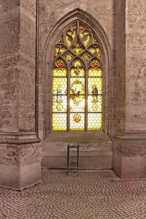Historic window at the new town hall in Munich, Germany, at night photo