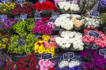 flower shop: Selection of flowers on display in Paris, France