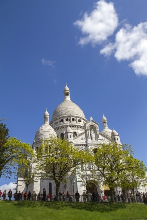 Sacre Coeur Basilica in Paris, France, against blue sky photo