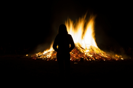 Celebrating midsummer with a large fire