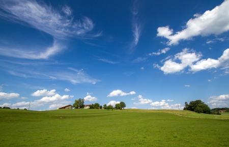 Paysage panoramique avec maison de ferme en Bavière, en Allemagne, au printemps Banque d'images - 14243056