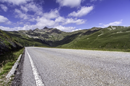 clouded: Scenic mountain road near  Penser Joch  in Northern Italy Stock Photo