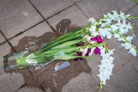 Scherben einer zerbrochenen Vase auf dem Boden Standard-Bild - 14470472