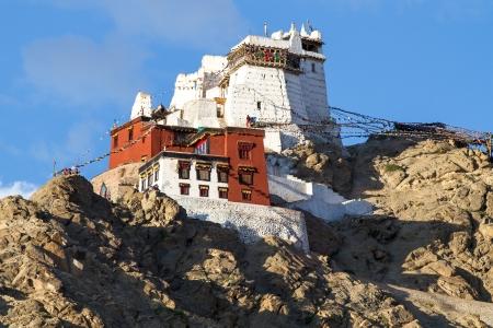Maitreya Tempel met uitzicht op Leh, Ladakh, Noord-India Stockfoto