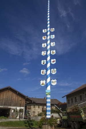 maypole: Traditional Bavarian Maypole, Germany, at a farm